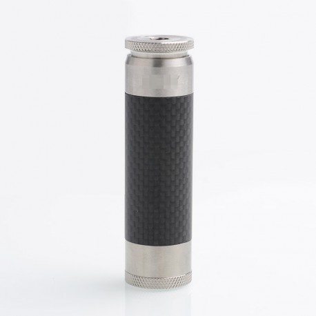 AV Able SS Edition Style Mechanical Mod - Silver, Stainless Steel + Carbon Fiber, 1 x 18650