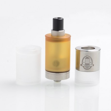 Authentic Auguse MTL RTA Rebuildable Tank Atomizer w/ 2 Spare Tank Kit - Silver, Stainless Steel + PEI, 4ml, 22mm Diameter