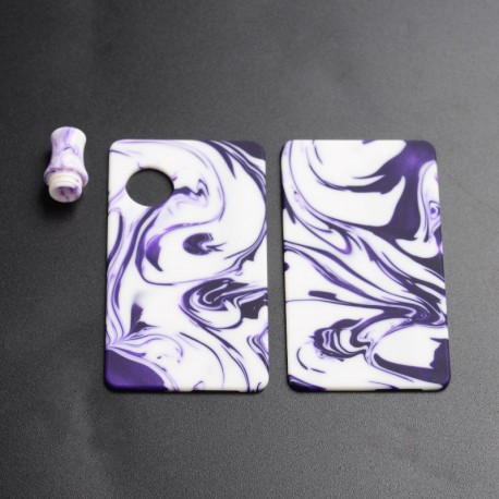 Authentic Ohm Vape AIO Pod Kit Replacement Front Panel + Back Panel + Drip Tip - Purple + White, Resin