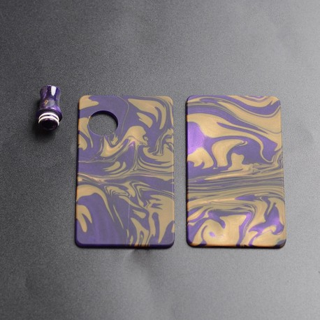 Authentic Ohm Vape AIO Pod Kit Replacement Front Panel + Back Panel + Drip Tip - Purple + Yellow, Resin