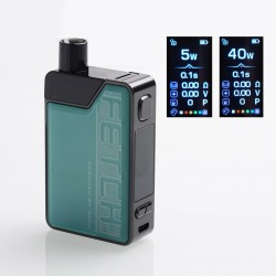 Authentic SMOKTech SMOK Fetch Mini 40W 1200mAh VW Box Mod Pod System Starter Kit - Green, PCTG + Glass, 3.7ml, 5~40W