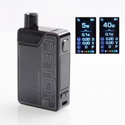 Authentic SMOKTech SMOK Fetch Mini 40W 1200mAh VW Box Mod Pod System Starter Kit - Black, PCTG + Glass, 3.7ml, 5~40W