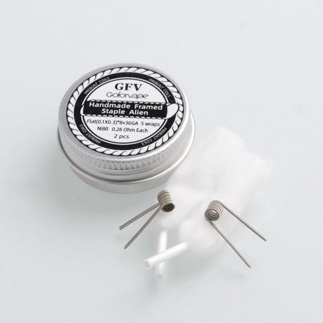 Authentic Goforvape Ni80 Handmade Framed Staple Alien Wire Coil for RTA - Flat (0.1 x 0.3) x 8 + 36GA, 0.26ohm (2 PCS)