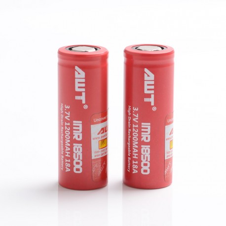 [Ships from Battery Warehouse] Authentic AWT IMR 1200mAh 18A 18500 High Drain Rechargeable Battery for Mod / Mod Kit - (2 PCS)