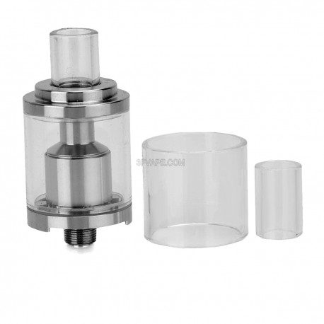 Authentic Youde Goblin Mini RTA Rebuildable Tank Atomizer - Silver + Transparent, Stainless Steel + Glass, 3ml, 22mm Diameter
