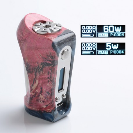 Authentic Ultroner Victory 60W VV VW Variable Wattage Box Mod - Black, Stabilised Wood + Stainless Steel, 5~60W, 1 x 18650