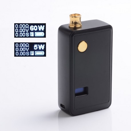 Authentic ThinkVape ZETA AIO 60W VW Variable Wattage Box Mod Pod System Starter Kit - Black, 3ml, 5~60W, 1 x 18650