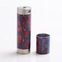 Authentic CoolVapor Takit Mini V2 Semi-Mechanical Mod - Silver + Red, Stainless Steel + Resin, 1 x 18350 / 18650
