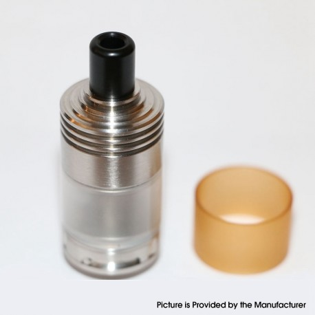 Caiman Style MTL RDTA Rebuildable Dripping Tank Atomizer - Silver, Stainless Steel + PC, 22mm Diameter