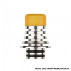 Authentic Reewape AS278S 510 Replacement Drip Tip for RDA / RTA / RDTA / Sub-Ohm Tank Atomizer - Silver + Yellow, 21mm