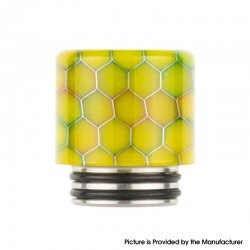 Authentic Reewape AS272 Changeable 810-510 Drip Tip w/ Anti Spit SS Mesh Sheet for RDA / SMOK TFV8 - Yellow, Resin, 18mm