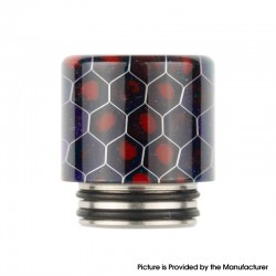 Authentic Reewape AS272 Changeable 810-510 Drip Tip w/ Anti Spit SS Mesh Sheet for RDA / SMOK TFV8 - Purple Red, Resin, 18mm
