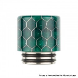 Authentic Reewape AS272 Changeable 810-510 Drip Tip w/ Anti Spit SS Mesh Sheet for RDA / SMOK TFV8 - Green, Resin, 18mm
