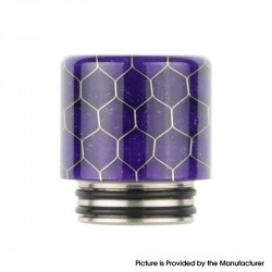 Authentic Reewape AS272 Changeable 810-510 Drip Tip w/ Anti Spit SS Mesh Sheet for RDA / SMOK TFV8 - Purple, Resin, 18mm
