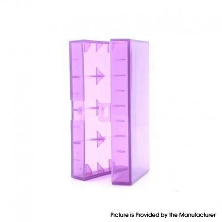 Authentic Efest H2 Updated Dual-Slot 18650 Plastic Battery Case - Translucent Purple