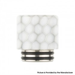 Authentic Reewape AS272 Changeable 810-510 Drip Tip w/ Anti Spit SS Mesh Sheet for RDA / SMOK TFV8 - White, Resin, 18mm