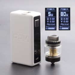 Authentic DEJAVU Neon 80W TC VW Variable Wattage Box Mod w/ Neon Atomizer Tank Kit - White, ABS, 5~80W, 1 x 18650