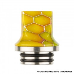 Authentic Reewape AS281TS 810 Replacement Drip Tip for SMOK TFV8 / TFV12 Tank / Kennedy /Battle/Reload RDA - Yellow, Resin, 20mm