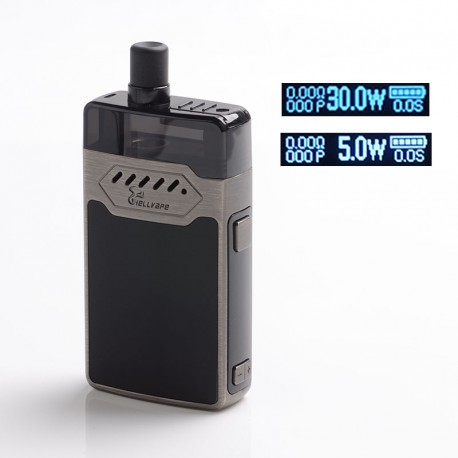 Authentic Hellvape GRIMM 30W 1200mAh VW Box Mod Pod System Starter Kit - Gun Metal, Zinc Alloy + PCTG, 3ml, 0.7 / 1.2ohm, 5~30W