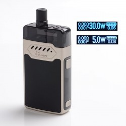 Authentic Hellvape GRIMM 30W 1200mAh VW Box Mod Pod System Starter Kit - Stainless Steel, Zinc Alloy + PCTG, 0.7 / 1.2ohm, 5~30W
