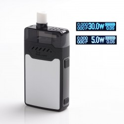 Authentic Hellvape GRIMM 30W 1200mAh VW Box Mod Pod System Starter Kit - Black, Zinc Alloy + PCTG, 3ml, 0.7ohm / 1.2ohm, 5~30W