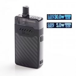 Authentic Hellvape GRIMM 30W 1200mAh VW Box Mod Pod System Starter Kit - Black Carbon Fiber, 3ml, 0.7ohm / 1.2ohm, 5~30W