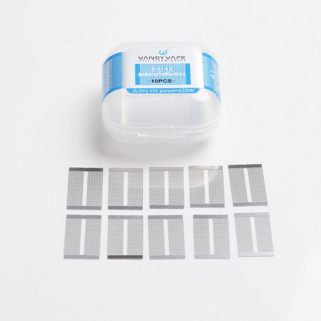 Authentic Vandy Vape Mesh V2 RDA Replacement A1 Dual M Coil Mesh Sheet - Silver, 0.15ohm (45~70W) (10 PCS)