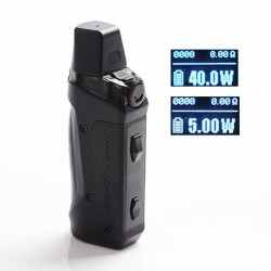 Authentic GeekVape Aegis Boost 40W 1500mAh VW Box Mod Pod System Starter Kit - Space Black, Zinc Alloy, 3.7ml, 0.6ohm, 5~40W