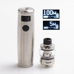 Authentic Uwell Nunchaku 2 Kit 100W TC VW Vape Mod + Atomizer Tank - Silver, 5~100W, 1 x 18650 / 20700 / 21700