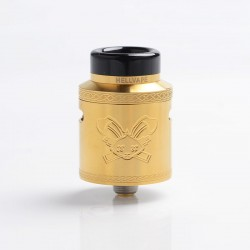 Authentic Hellvape Dead Rabbit V2 RDA Rebuildable Dripping Atomizer w/ BF Pin - Gold, Stainless Steel, 24mm Diameter