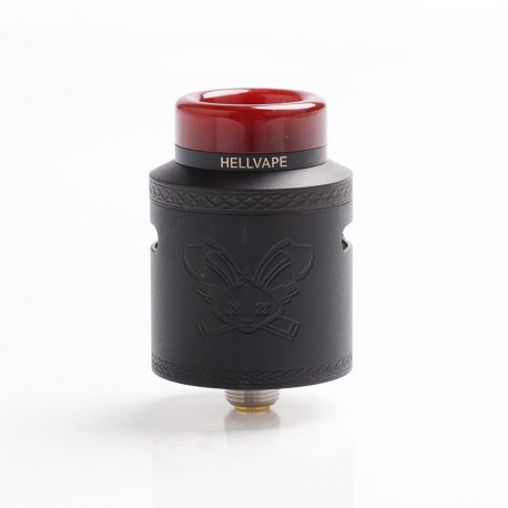 Authentic Hellvape Dead Rabbit V2 RDA Rebuildable Dripping Atomzier w/ BF Pin - Matte Full Black, Stainless Steel, 24mm Diameter