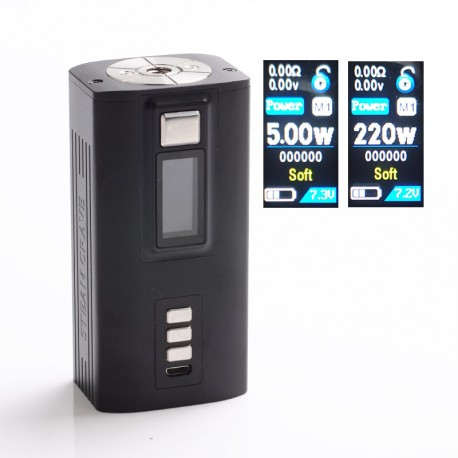 Authentic Steam Crave Hadron 220W TC VW Variable Wattage Box Mod - Black, 2 x 18650 / 21700