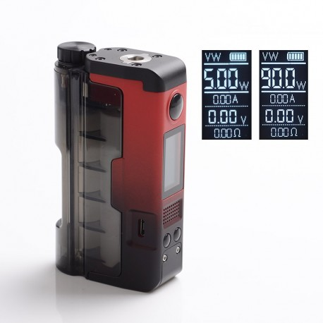 Authentic Dovpo x Brian Topside Lite 90W TC VW Squonk Vape Box Mod - Red, 5~90W, 100~315'C, 1 x 20700 / 21700
