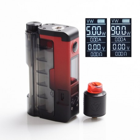 Authentic Dovpo 90W Topside Lite Kit TC VW Box Mod + Variant RDA Atomizer - Red, Polycarbonate + PCTG, 5~90W, 1 x 20700 / 21700