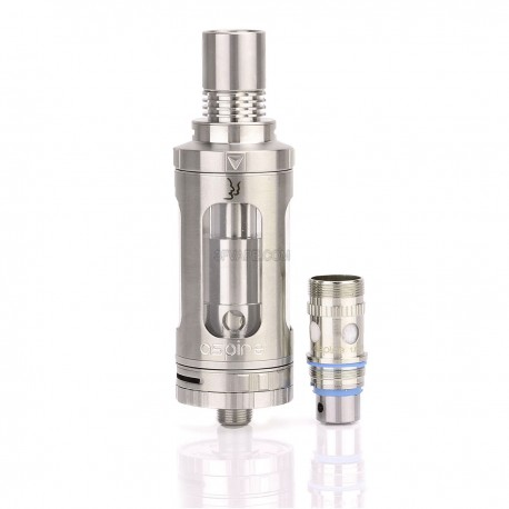 Authentic Aspire Triton Sub Ohm Tank - Silver + Transparent, Stainless Steel + Pyrex Glass, 3.5mL, 0.4 / 1.8 Ohm