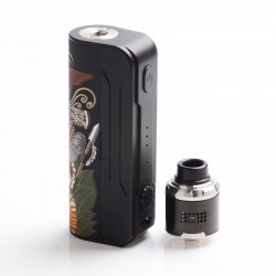 Authentic Hippovape Papua 100W VW Variable Wattage Box Mod + RDA Kit - Black, 3~100W, 1 x 18650 / 20700 / 21700, 24mm Diameter