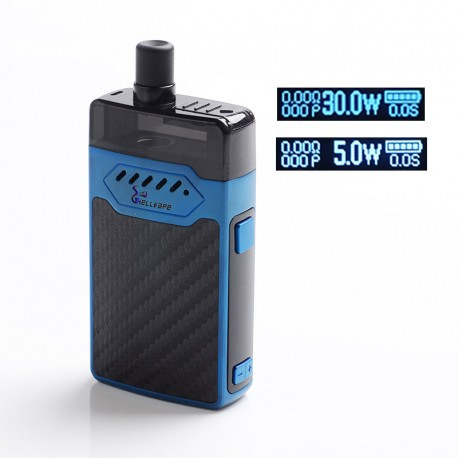Authentic Hellvape GRIMM 30W 1200mAh VW Box Mod Pod System Starter Kit - Blue Carbon Fiber, 3ml, 0.7ohm / 1.2ohm, 5~30W