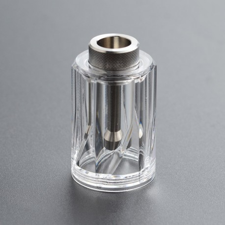 Replacement Diamond Tank Tube Top Cap + Chimney for Dvarw 22 MTL RTA - Silver + Transparent, 316SS + PC, 4.5ml