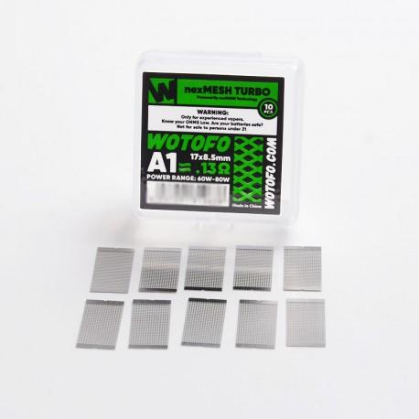 Authentic Wotofo nexMESH Turbo A1 Prebuilt Wire Mesh Sheet for Profile 1.5 RDA - Silver, 0.13ohm, 17 x 8.5mm (60~80W) (10 PCS)