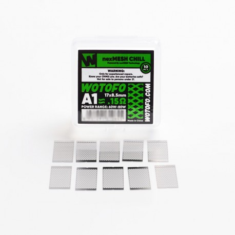 Authentic Wotofo nexMESH Chill A1 Prebuilt Wire Mesh Sheet for Profile 1.5 RDA - Silver, 0.15ohm, 17 x 8.5mm (60~80W) (10 PCS)