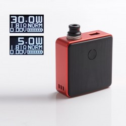 Authentic SXK Bantam Revision 30W VW Variable Wattage Vape Box Mod Kit w/o 18350 Battery - Red, 5~30W, 1 x 18350, SEVO-30