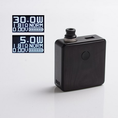 Authentic SXK Bantam Revision 30W VW Variable Wattage Vape Box Mod Kit w/o 18350 Battery - Black, 5~30W, 1 x 18350, SEVO-30