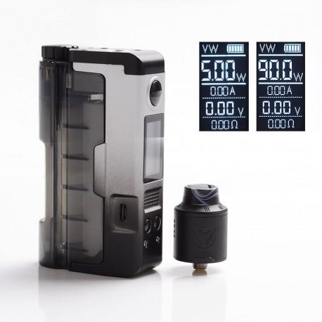 Authentic Dovpo 90W Topside Lite Kit TC VW Box Mod + Variant RDA Atomizer - Silver, Polycarbonate, 5~90W, 1 x 20700 / 21700