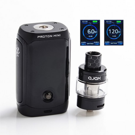 Authentic Innokin Proton Mini Ajax 120W 3400mAh TC VW Box Mod + Ajax Tank Atomizer Kit - Black, 5ml, 0.16ohm / 0.35ohm, 6~120W