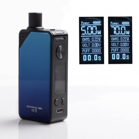 Authentic OBS Alter 70W 2300mAh VW Box Mod Pod System Starter Kit - Blue, Zinc Alloy, 3.5ml / 5ml, 5~70W