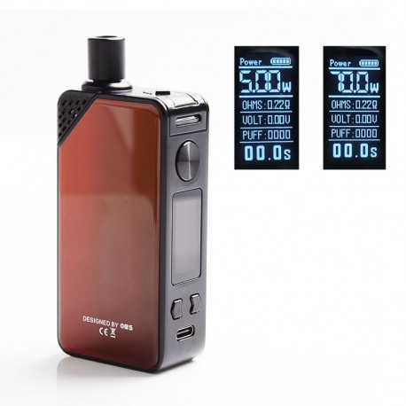 Authentic OBS Alter 70W 2300mAh VW Box Mod Pod System Starter Kit - Red, Zinc Alloy, 3.5ml / 5ml, 5~70W