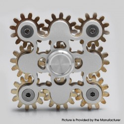 9-Gear Steampunk Hand Spinner Fidget Toy Focus EDC for ADHD / Anxiety / OCD Sufferers - Silver, Aluminum + Brass