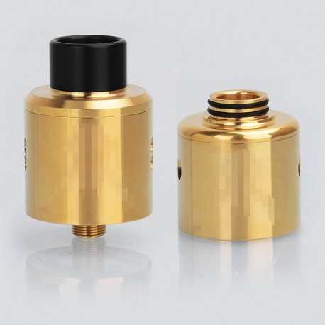Recoil Rebel Style RDA Rebuildable Dripping Vape Atomizer w/ BF Pin + A Spare SS Dual Hole Top Cap - Gold, SS, 25mm Diameter
