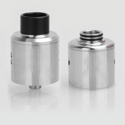 Recoil Rebel Style RDA Rebuildable Dripping Vape Atomizer w/ BF Pin + A Spare SS Dual Hole Top Cap - Silver, SS, 25mm Diameter