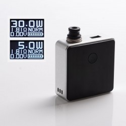 Authentic SXK Bantam Revision 30W VW Variable Wattage Box Vape Mod Kit w/o 18350 Battery - Silver, 5~30W, 1 x 18350, SEVO-30